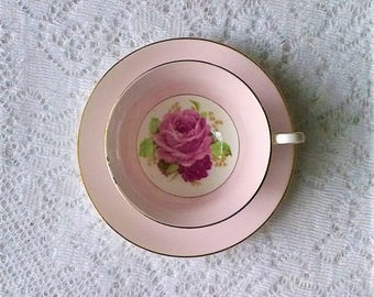 Rosina Pink & Red Rose Floral Bone China Tea Cup and Saucer Set - Made in England