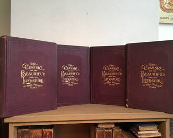 The Classic and the Beautiful from the Literature of 3000 Years, Set of Four (4) Beautifully Bound Antique Books, Full-Page Illustrations