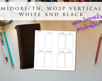 Midori/Traveler's Notebook (regular TN) insert booklet - week on 2 pages (WO2P), vertical, Mon-Sun, white and black (TNreg.7)