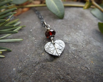 Tiny Heart Leaf with Blood Red Garnet or Amethyst - Oxidized Fine Silver Pendant  by Quintessential Arts