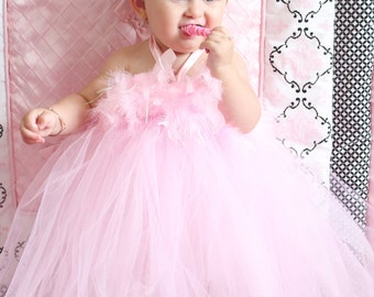 Gorgeous Light Pink Feather Tutu Dress for Baby Girl 6-18 Months First Birthday