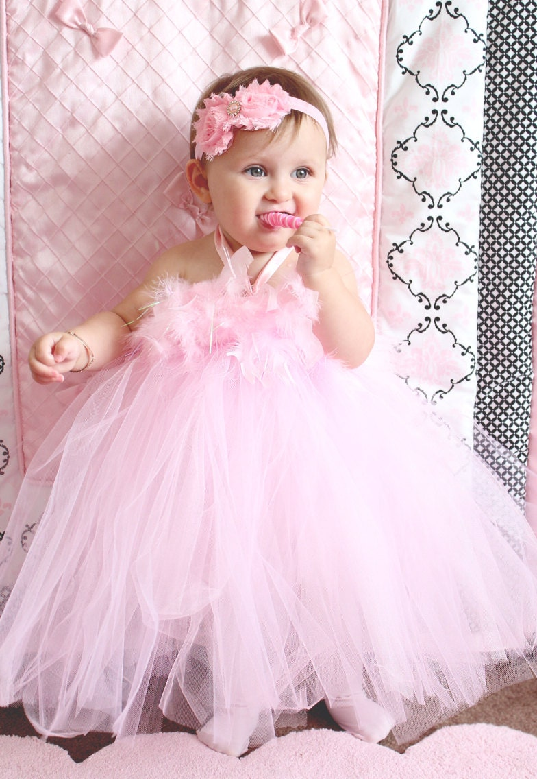 Gorgeous Light Pink Feather Tutu Dress for Baby Girl 6-18