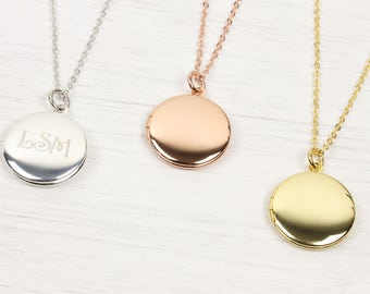 Personalized Tiny Gold Round Locket Necklace, Small Photo Picture Locket Necklace Rose Gold Silver Wedding Jewelry mother s day gift mothers
