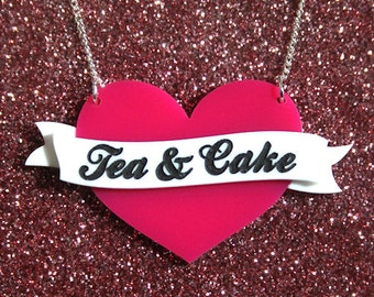 Heart Banner name necklace - laser cut acrylic