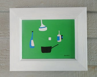 "Original Still Life Painting in Acrylic Naive Art 11""x9"" Painting Acrylic Original Naive Still Life on Board Art Still Life Nature Abstract"