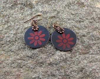 Flower,Torch fired enamel earrings