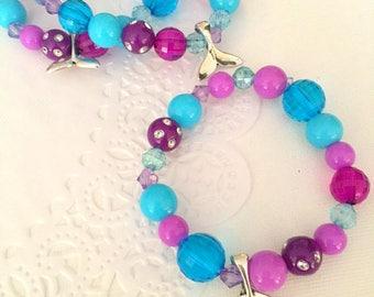Mermaid tail, mermaid jewelry, mermaid bracelet, party favor, starfish, kids, jewelry, bracelet. Set of TEN.