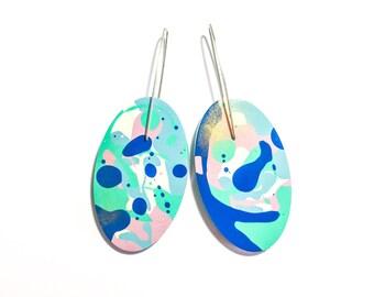 Jackson Pollock Inspired Paint Splattered Pastel Blue/Multicolour Earrings