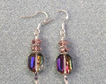 Earrings - Dangle Glass Beaded Purple