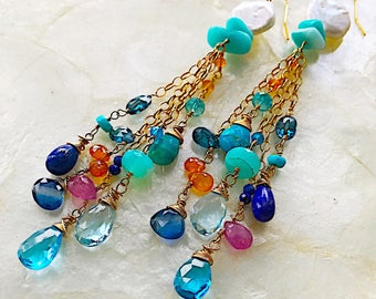 Capri Soiree Multi Gem Elegance Duster Earrings
