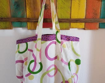 Purple Flowered and Canvas Reversible Tote/Grocery Bag; Canvas Everyday Tote/Bag; Tote; Purple Flowers; Purple; Circles; Washable