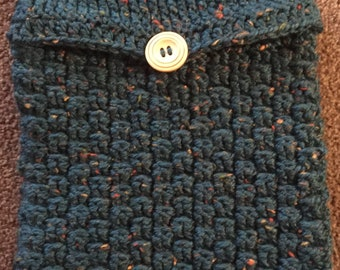 Handmade Crochet Hot Water Bottle Cover / Hottie Cover - Green