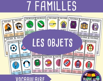 Printable 7 families card game about objects - French version