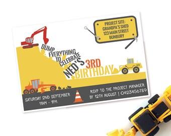 Construction Party Invite, Printable Invitation, Kids Party Invitations, Construction Party, Printable Invites, Birthday Invite, Party Decor