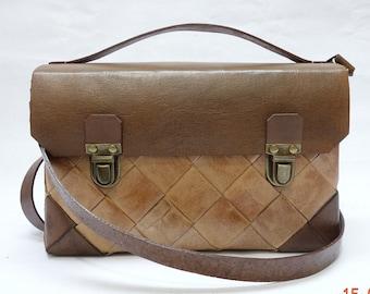 Flap leather SATCHEL