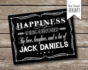 """Jack Daniels Party Thank You Card - Printable - INSTANT DOWNLOAD - 7 x 5"""" AND 5.5 x 4.25"""" Folded"""