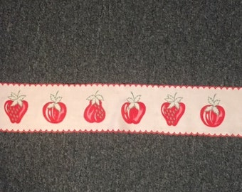 Cotton trim - vintage - white with red strawberries and cherries, and red edging