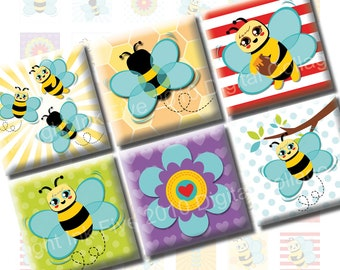 Honey Bees 1 inch squares printable digital collage sheet. Printables for stickers, pendants, cabochons. Busy Bee flowers colorful squared.