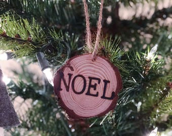 Rustic Wood-burned Ornament, wood-burned gift tag, rustic ornament