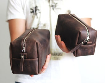 Mens Toiletry Bag ,Brown Bag, Grooms Gift, Man Dopp Kit, Big Dropp Kit, Mens Travel Organizer, Brown Mens Bag, Leather Toiletry Bag