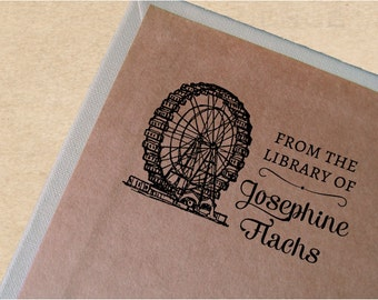 Vintage Bookplate, Personalized Book Stamp, Ex Libris Stamp, Custom Book Stamp, Ferris Wheel