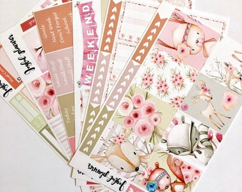 Woodland planner stickers weekly kit:  BOHO WOODLAND spring planner stickers  for erin condren life planner eclp mambi happy planner