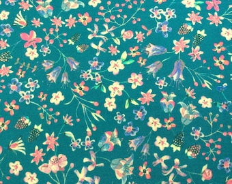 """Donna Leigh D Liberty Fabric scrap tana lawn 10"""" x 10"""" square blue turquoise pink green (25,4 cm x 25,4 cm) The Weavers Mill"""
