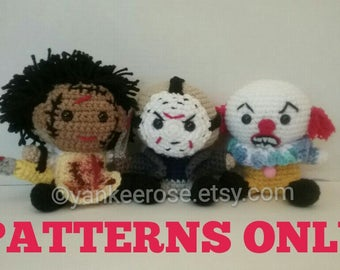 Horror Movie Pack I Amigurmi Doll Patterns ONLY - Leatherface, Jason & Pennywise