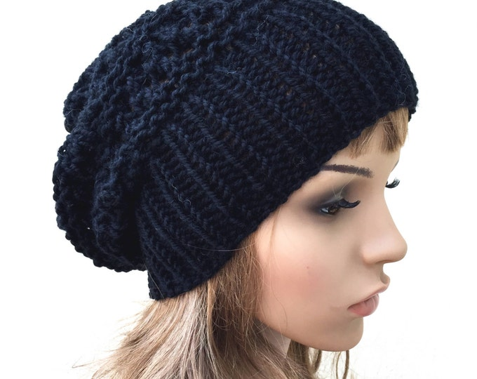 Hand knit hat - Oversized Chunky Wool Hat slouchy hat in black
