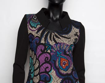 Fancy top/tunic sleeves long/printed blue/black/casual chic/handmade and original woman / 36 to 42