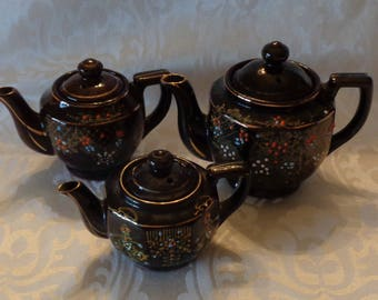 Vintage Mid-Century  ACME Brown Redware Hand Painted Teapots Set of Three - Made in Japan