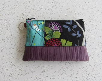 Small Key Ring Wallet - Purple Bird Vegan Wallet - Small Key Ring Bag