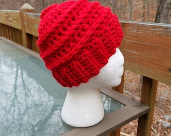 Messy Bun Beanie in Red- Ready to Ship - Ponytail Hat