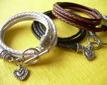 Heart Charm Bracelet, Leather Wrap Bracelet, Heart Jewelry, Womens Leather Bracelet, Womens Gift, Womens Jewelry, Leather Jewelry,