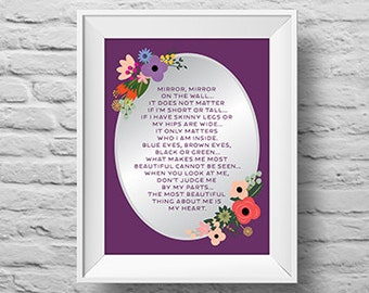 MIRROR MIRROR on the WALL unframed Typographic poster, inspirational print, self esteem, wall decor, quote art. (R&R0149)