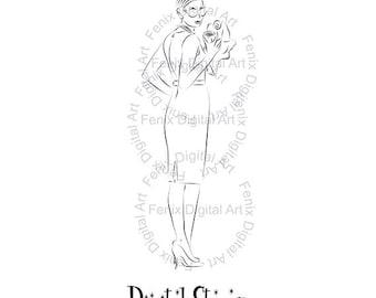 Digital Stamp,Clipart,Line art,Audrey Fashion Lady,Fashion Girl graphics,Digi stamp,digistamp,Art,fashion Illustration INSTANT DOWNLOAD