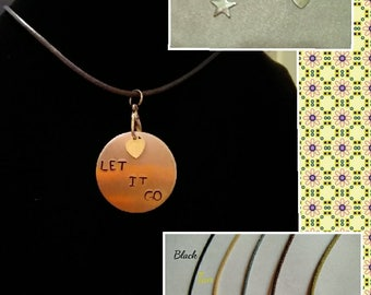 Hand-Stamped Pendant Necklace (Let It Go)