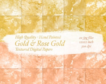 Gold and Rose Gold Digital Paper Backgrounds - Download Hand Painted Marble Textured Papers - High Quality 12x12inch - 300DPI