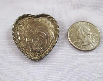 Vintage Sterling Silver Overlay Heart Brooch. - Estate find -