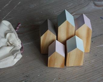 Neutrals Happy Little Neighborhood - Wood Block Houses - Natural