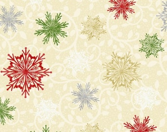 Christmas Fabric - Snowflakes - Winter Greetings Sharla Fults Studio E Fabrics - 4218 44 Ecru - Priced by the half yard