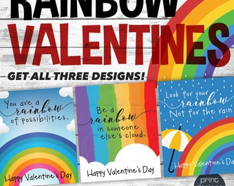 Printable Rainbow Valentines Day Card - Printable Valentine - School Valentines Day Card - Rainbow Valentines - Preschool Valentines