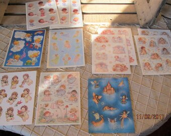 12 Sheets Vintage Hallmark Stickers 80's 90's - Rare Angels Cherubs Fairy Fairies Pixies Dreamsicles