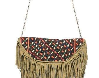 Afflon Hand embroidered Vintage suede boho wear gypst tribal ethnic clutch bag