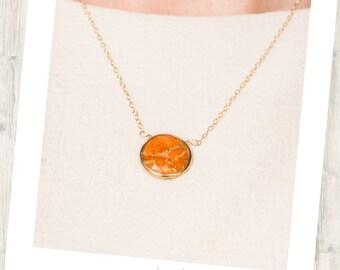 Orange Jasper Delicate Gold-Rimmed Gemstone Round Drop Necklace