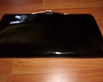 vintage purse handbag clutch black patent leather