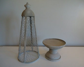 """25.5"""" Grey Wire Tower Stand Supply DIY Stand and Cover Shabby Chic Vintage Looking Floral Arrangement Supplies #277A"""