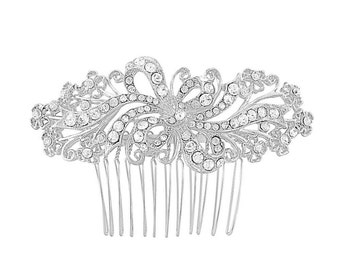 vintage style comb, crystal hair comb, gift, rhinestone hair comb, gift for her, silver hair comb, bridal accessories, crystal headpiece,