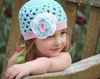 """Crocheted Beanie """"The Madison Rose"""" Robin's Egg Blue, Pastel Pink, White, Flower Open Weave Custom Colors"""