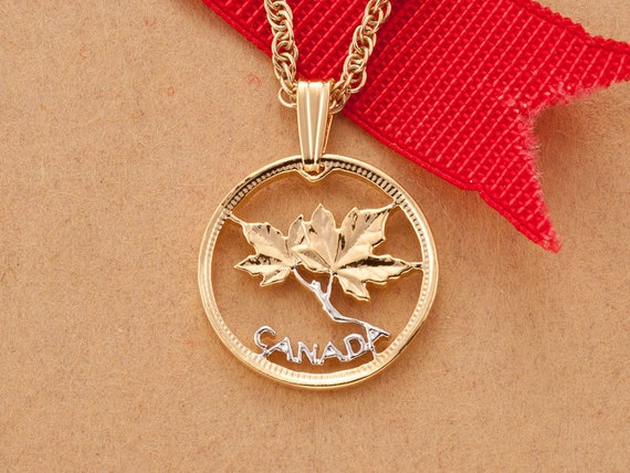 Canadian maple leaf pendant and necklace canada one cent aloadofball Gallery